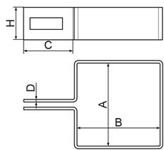 Nákres koncovej hranatej príchytky k plotovému stĺpiku