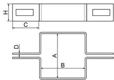 Nákres priebežnej hranatej príchytky k plotovému stĺpiku