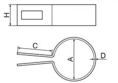 Nákres koncovej okrúhlej príchytky k plotovému stĺpiku
